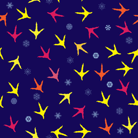 snow track: seamless New Year 2017 background with rooster tracks and snowflakes