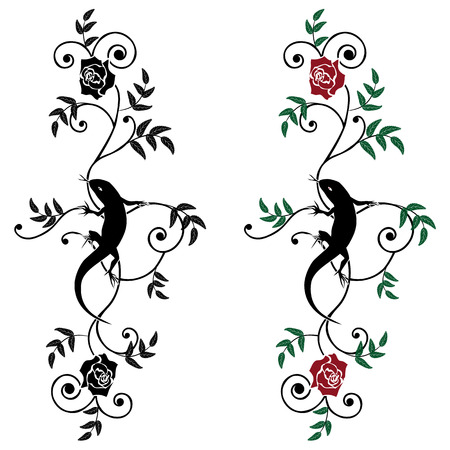 elegancy: set of vector illustration with lizard and rose