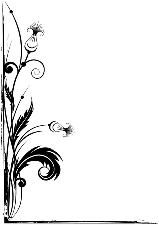 thistle plant: vector grunge border for corner design with stylized thistle in black and white colors Illustration