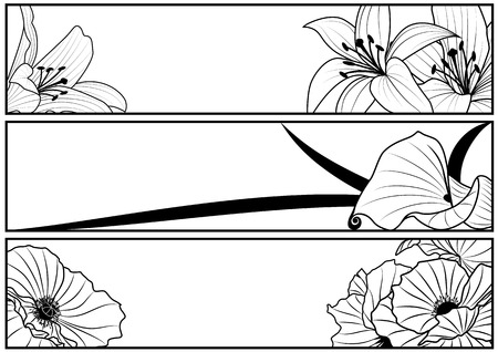 art frame: set of vector floral banners with lily and poppy in black and white