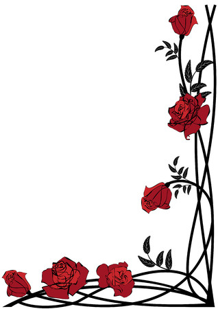 vector floral border with roses for corner design