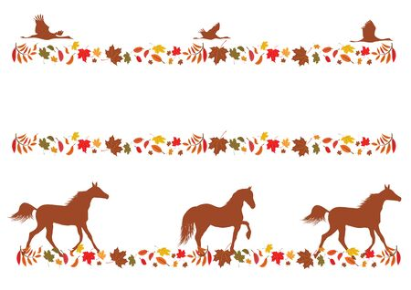 autumnal: set of vector autumnal borders with foliage, horses and cranes