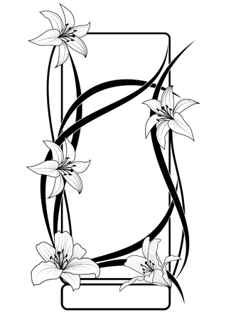 lily flower: vector frame with flowers of lily  in black and white colors