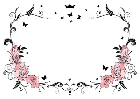 black borders: vector frame with pink roses, crown and butterflies