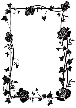Vektor-Rahmen mit Rosen, Efeu und Schmetterlingen in schwarz und weiß Vektorgrafik