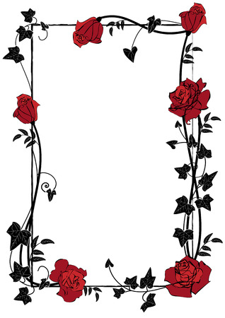 vector frame with roses, ivy and butterflies in black, red and white colors