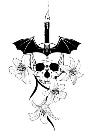 white candle: vector illustration of skull, candle, lily  and bat  in black and white