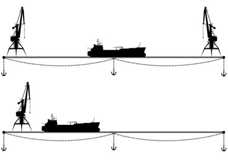 industrially: set of vector borders with crane, anchor and ship in black and white