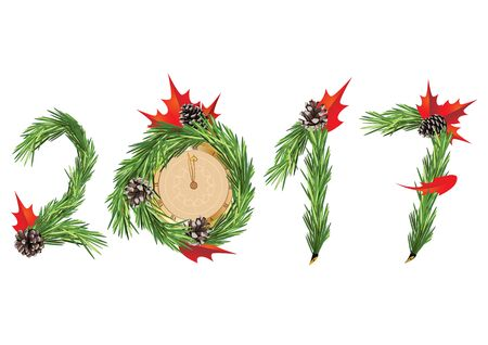 new year decoration: Christmas and New Year tree decoration - 2017 Illustration