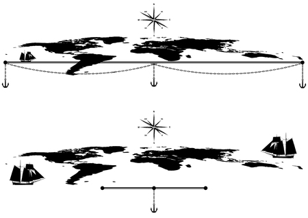 brig: set of vector borders with tall ships, maps and anchors in black and white