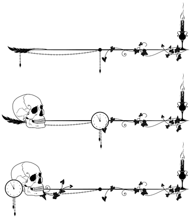 set of vector dviders with skull, candle, clock and ivy in bllack and white