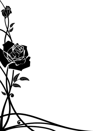 Vector Floral Border With Roses For Corner Design In Black And Royalty Free Cliparts Vectors Stock Illustration Image 64379895