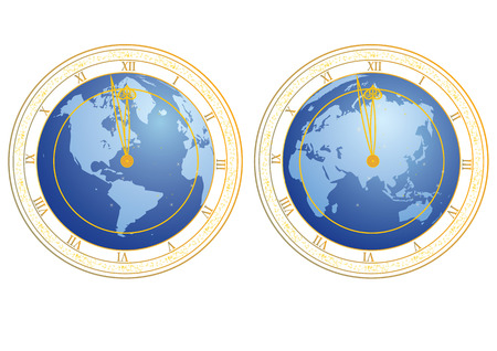 clockface: set of vector illustrations of clock with clock-face as globe
