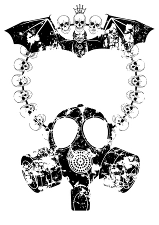 necromancy: vector horror frame with gas mask, skull and bat