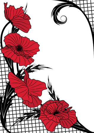 vector frame with poppy and lattice in red and black color