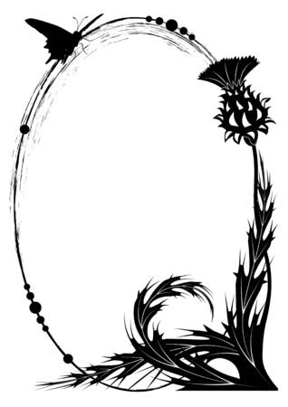 vector frame with thistle and butterfly in black and white