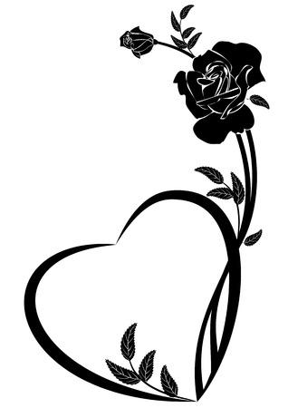 Cornice vettoriale di San Valentino con rosa e cuore in bianco e nero Vettoriali