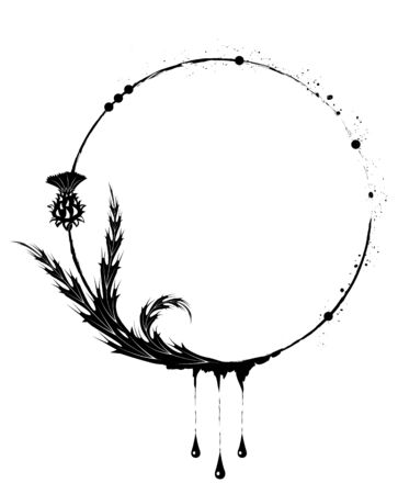 thistle: vector round frame with thistle in black and white