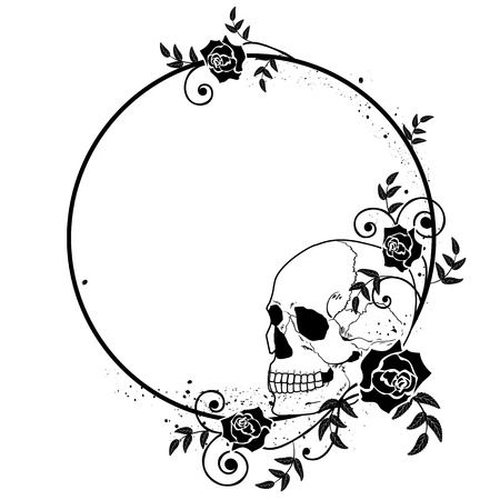 rosas blancas: vector frame with skull and roses in black and white colors