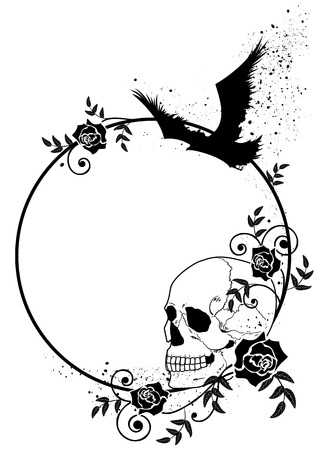 rosas negras: vector frame with skull, raven and roses in black and white colors