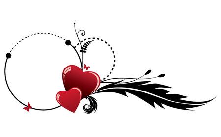 Vector Valentine frame avec couple de coeur en noir et rouge