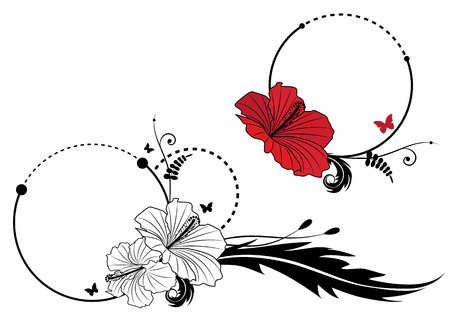 flower art: set of vector frame with hibiscus and butterflies