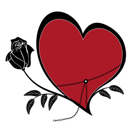 white roses: vector frame with rose and heart in black, white and red colors