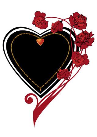 rosas negras: El marco adornado del vector de San Valentín con rosas y el corazón