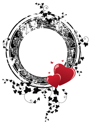valentine vector frame with hearts, butterflies and ivy