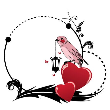 vector valentine frame with bird, heart, retro lamp and butterflies