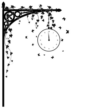 corner clock: vector illustration for corner design with clock, ivy and butterflies in white and black colors Illustration