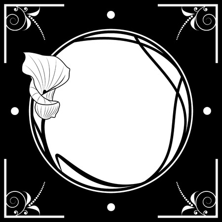 vector floral frame with lily in black and white colors Vector Illustration