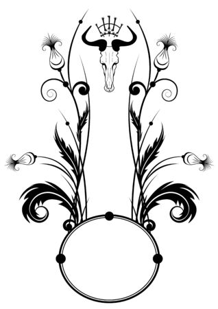vector frame with thistle and skull in black and white Illustration