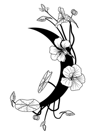 botanical gardens: vector illustration with nasturtium and moon in black and white colors