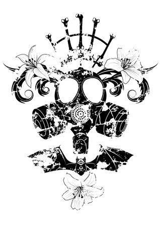 Ilustración vectorial con máscara de gas, lirio y murciélago en blanco y negro