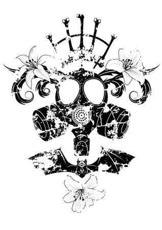 gasmask: vector illustration with gas mask, lily and bat in black and white Illustration