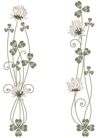 Set of vector vignette with clover in green and pink colors 일러스트