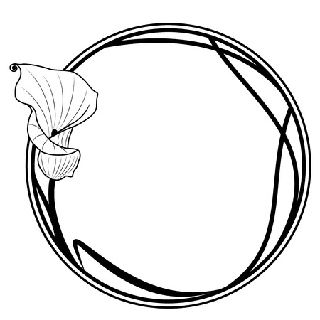 vector floral round frame with ilily in black and white colors