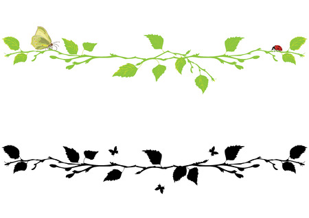 contours: Set of vector borders with branch of birch tree, butterfly and ladybird.