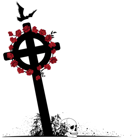 vector illustration of crucifix, raven, scull and roses in black, white and red colors