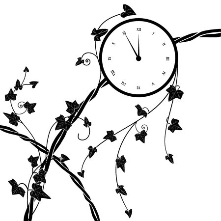 vector illustration with clock and ivy in black and white