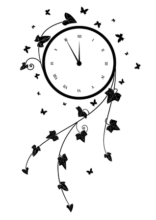 vector illustration with clock, ivy and butterflies in black and white Illustration