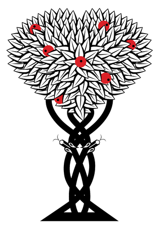 vector illustration with apple tree and snake in black, white and red colors