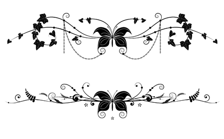 Set of vector dividers with butterfly and floral branches