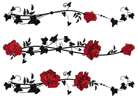 Vector floral set of dividers with roses and ivy