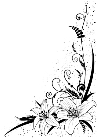 Vector background with flowers of lily in black and white for corner design