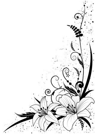 Fondo de vector con flores de lirio en blanco y negro para diseño de esquina
