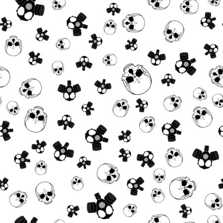 vector seamless horror background with skulls and gas masks in black and white colors on white backdrop