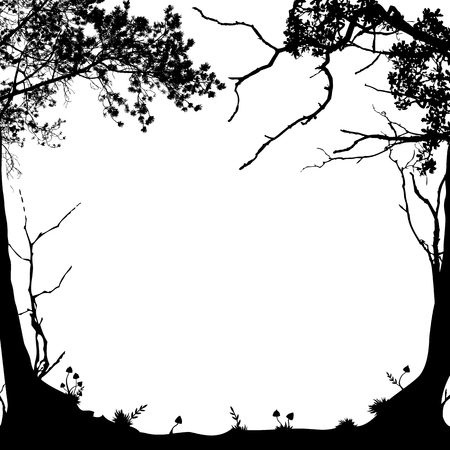 vector frame with forest landscape in black and white Vettoriali