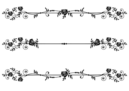 Vector floral set of dividers with roses in black and white